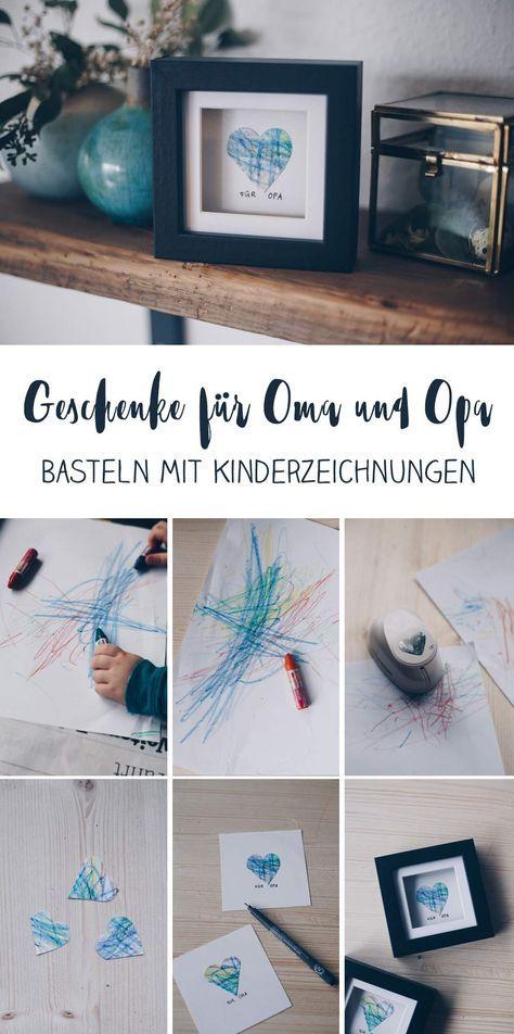 DIY-Geschenkidee mit Kinderzeichnung – Geschenkidee für Oma und Opa   – Bastelideen