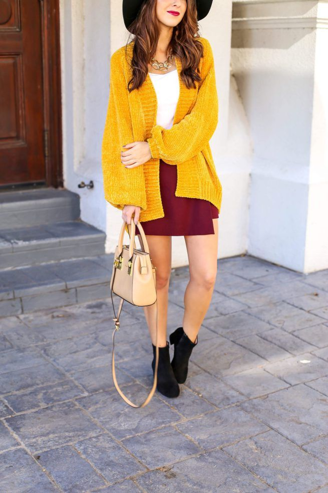 Blouse Cardigan for Fall and Burgundy Skort. Mustard Yellow Cardigan. Burgundy Skirt for Fall. Black Suede Booties. Fall Style. Fall Outfit Inspo #fallcardigans #fallfashion
