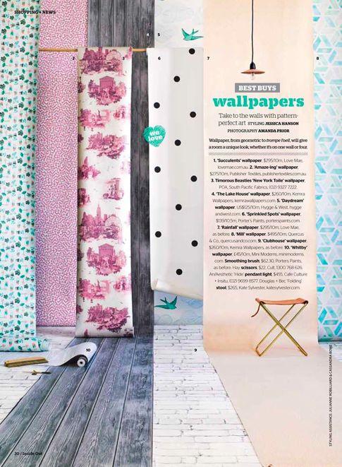 Love Mae Wallpaper featured in Inside Out Magazine.  February 2014 www.lovemae.com.au