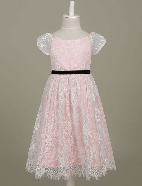 Lace Flower Girl Dresses Light Pink Toddler's Pageant Dress Illusion Short Sleeve A Line Dinner Dress
