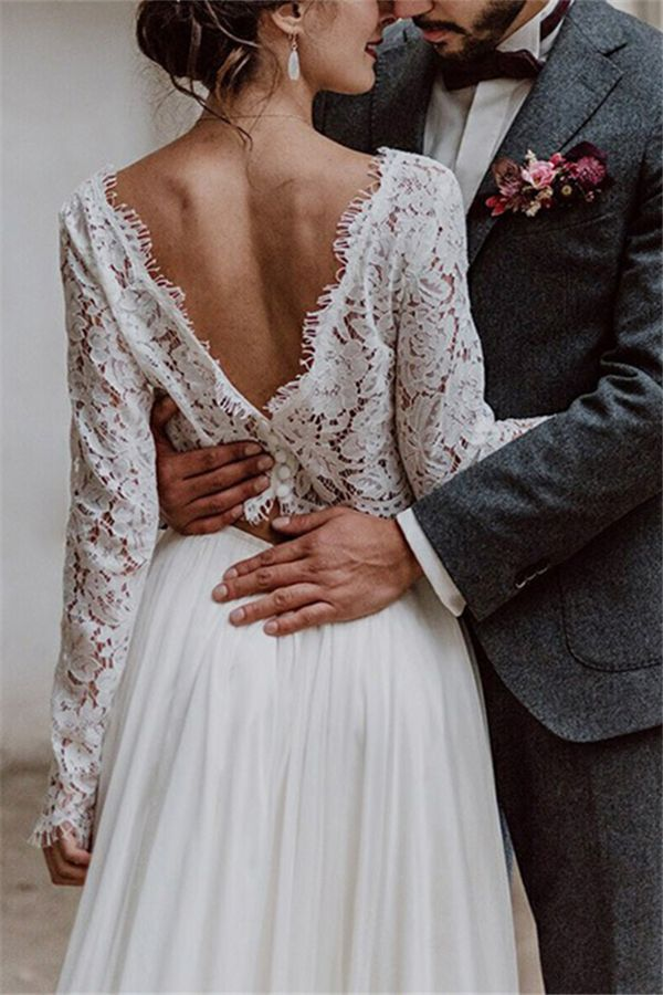 Lace Long Sleeves Two Pieces Beach Wedding Dress 2019 Lace Beach Wedding Dress Wedding Dresses Lace Orange Bridesmaid Dresses