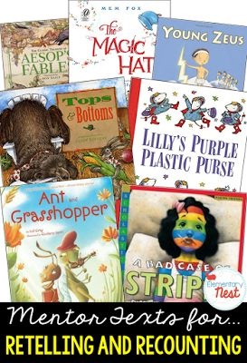 Primary mentor text suggested book list for retelling and recounting skills- reading stories, fables, folk tales, and myths to find the moral- also simple retelling skills for character, setting, beginning, middle, and end- RL1.2, 2.2, 3.2