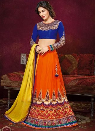 Chitrangada Singh Orange And Blue Net Wedding Lehenga Choli http://www.angelnx.com/