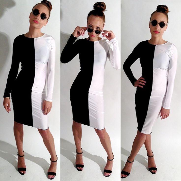 Half black- half white- long sleeve body con dress. Spandex ...