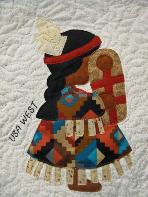 USA West Sunbonnet Sue block at MooseStash Quilting. Design by Debra Kimball - International Sunbonnet Sue