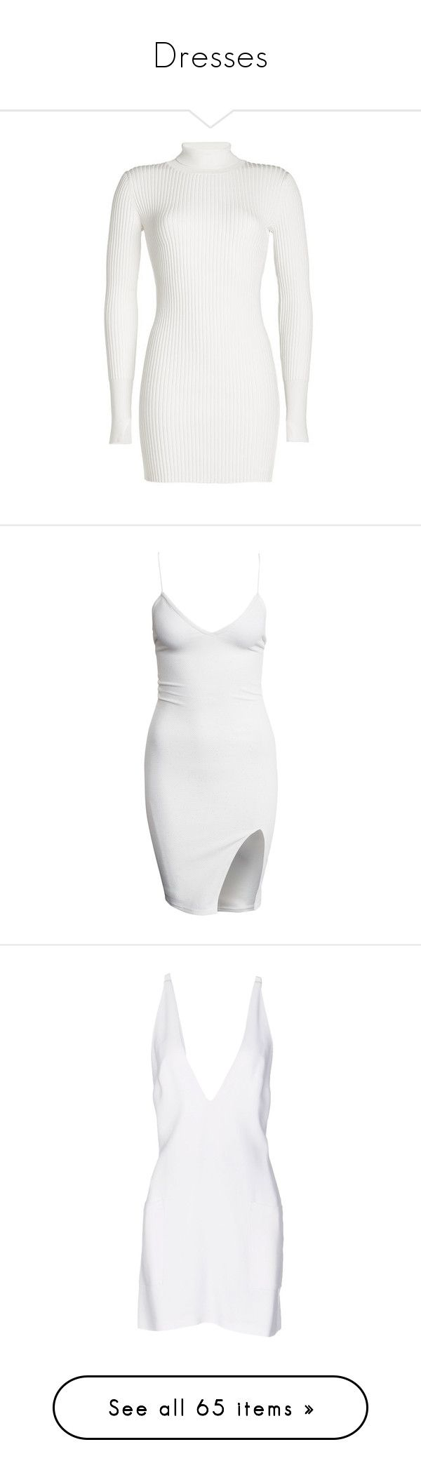 """Dresses"" by c0nejita ❤ liked on Polyvore featuring dresses, bodycon dress, white leather dress, ribbed turtleneck, white turtleneck dress, leather dress, vestidos, short dresses, white and party dresses"