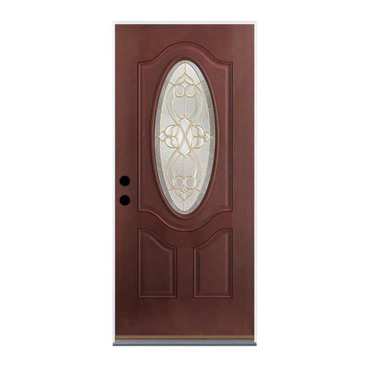 Therma-Tru Benchmark Doors Willowbrook Right-Hand Inswing Dark Mahogany Stained Fiberglass Entry Door with Insulating Core (Common: 32-in x 80-in; Actual: 33.5-in x 81.5-in)