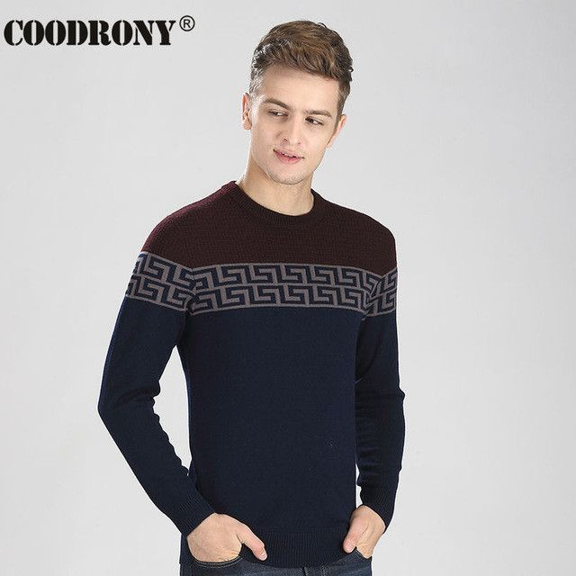 HS High Quality Thick Warm Cashmere Sweater Men Brand Clothing 100% Merino Wool Pullover Men Soft Woolen O-Neck Pull Homme 6313