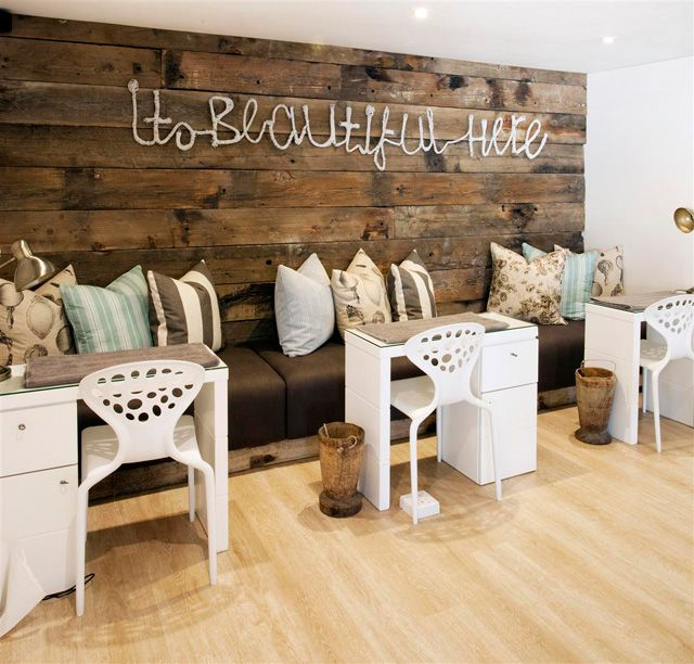 bench waiting area i love this im not sure its practical nail salon decorrustic - Nail Salon Interior Design Ideas