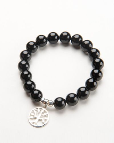 ONYX CHARM BRACELET $38.00  This gorgeous black onyx stone bracelet is crafted from beautiful polished onyx beads – it also features a sterling silver, circular tree charm and is finished with two sterling silver beads on a high quality stretch transparent elastic. Match this bracelet with a stunning sterling silver bead bracelet and onyx drop earrings for a beautiful completed look.