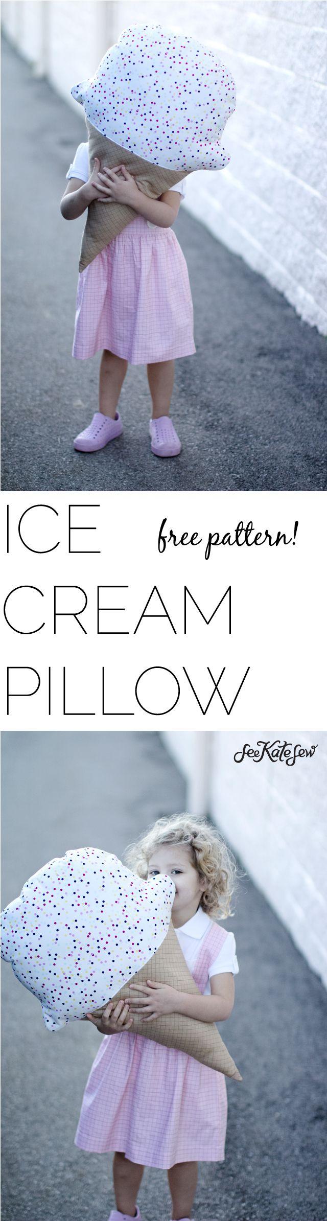 Los pequeños amarán esta almohada en forma de helado. #almohada #tela #costura