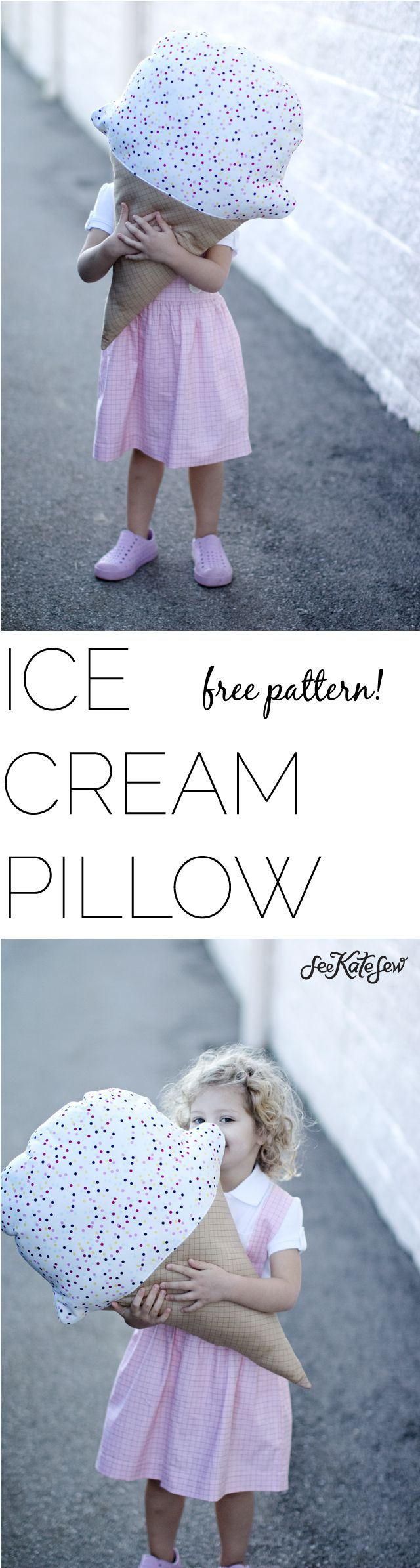 It's finally here! I've been dreaming about making this free ice cream pillow pattern since I designed my Doll Fabric line! It was the first thing I thought to make when designing the waffle cone and sprinkle coordinates! These prints match the ice cream cones that come with each doll panel. The panels have 1 boy, 1 girl …