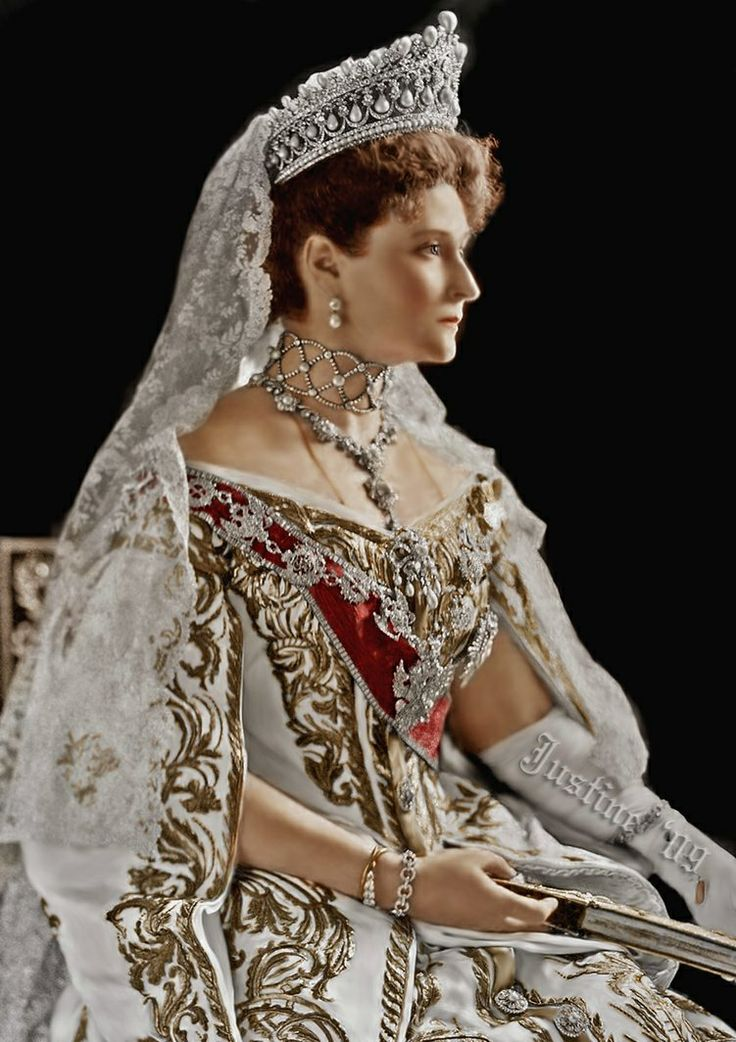 Alexandra Feodorovna, the Empress of Russia in her great gown, with the highest Order of Russia, the Order of St Andrew and tiara with pearls that disappeared