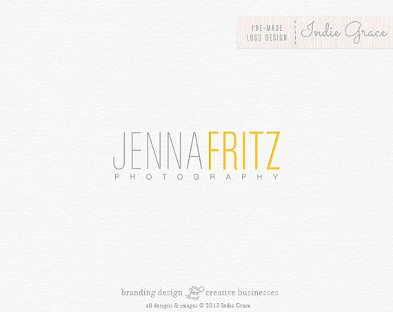 Custom PreDesigned / pre-made modern typography logo for photography boutique or etsy shop