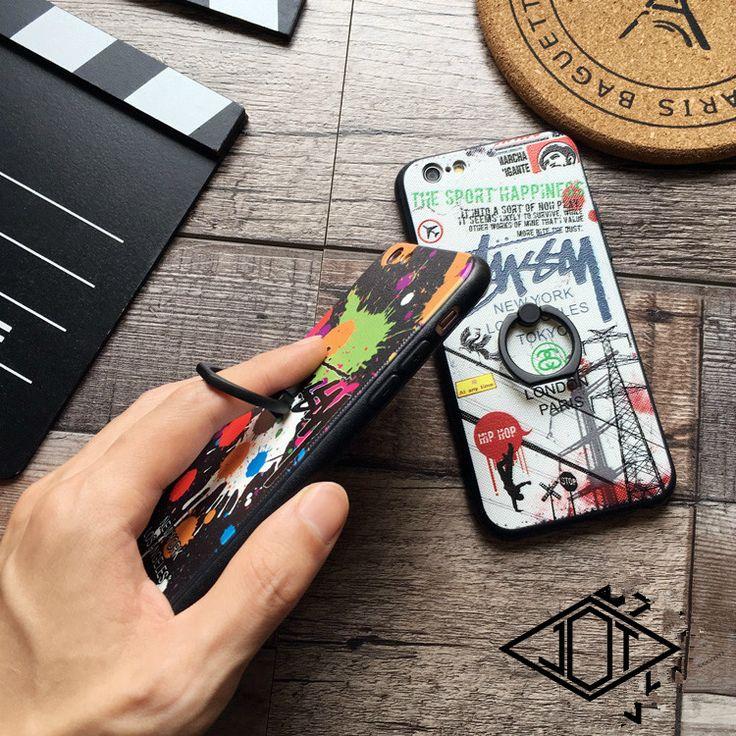 アイフォン7 7プラスケースカバー  STUSSY メンズ レディース ペア ハードケース バンカーリング  キレイ