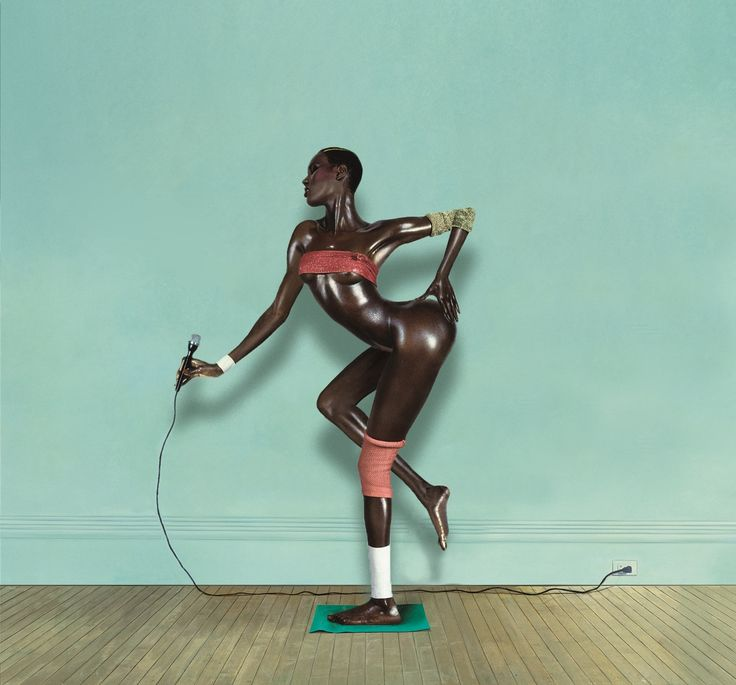 "Grace Jones Resting AKA ""The Nigger Arabesque"" (1985) original photo by: Jean-Paul Goude edited by: teiq"