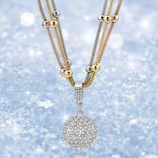 Women Long Necklace Gold Color Chain Necklace Full Rhinestone Ball Pendant hot sale: women necklace gold color hot sale