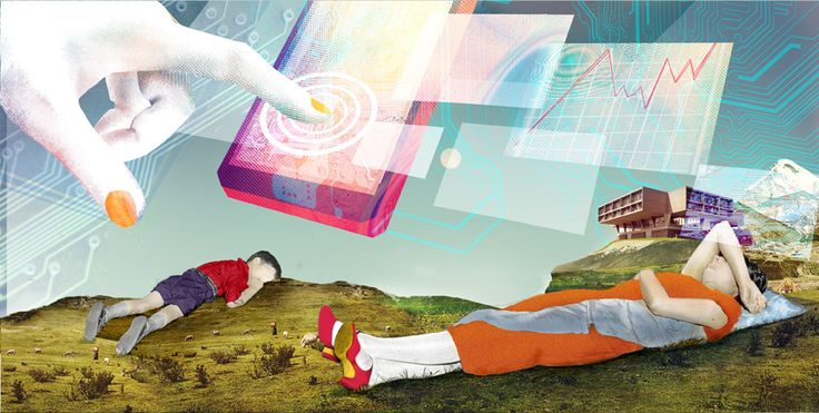 "Illustration for a project concerning ""smart boredom"", an affliction of the digital age - GOETHE INSTITUT"