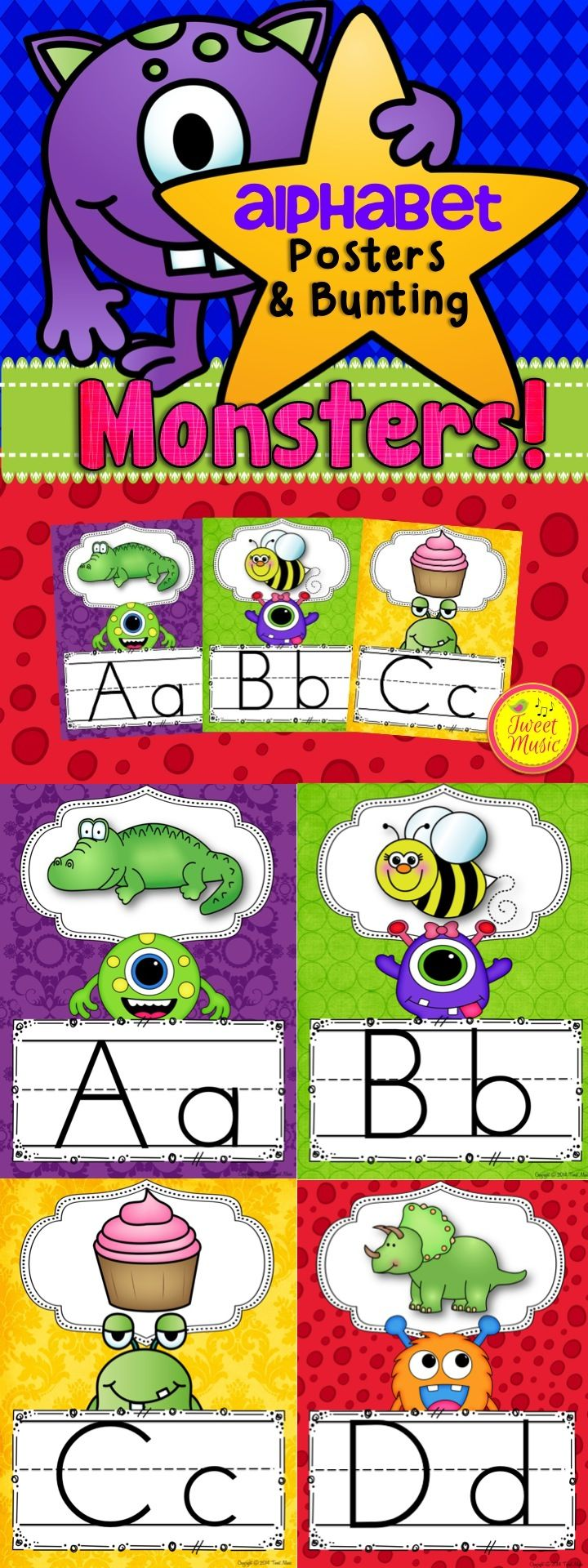 Decorate your classroom this year with this adorable Monsters Themed Classroom decor set. Alphabet Posters & Bunting (includes welcome bunting & editable bunting!) $