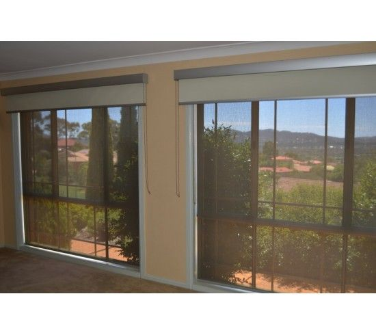 Simon and Jane - Double Roller blinds with Pelmet; Clearview Charcoal/Sand Sunscreen with Vibe Xtra Spirit Blockout;