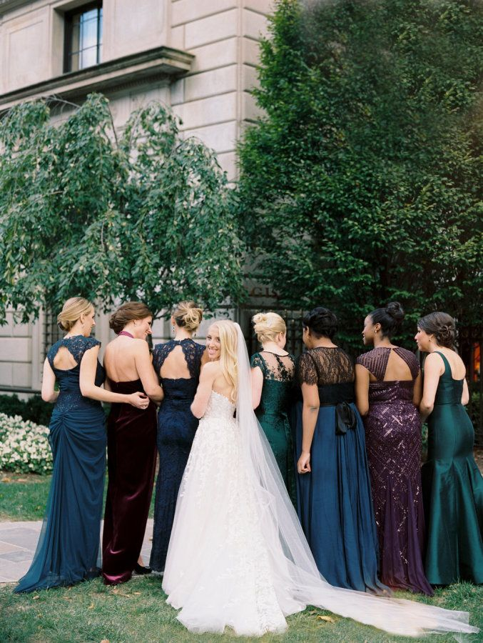 Mix and match jewel tone bridesmaid dresses: http://www.stylemepretty.com/2016/06/09/they-planned-a-wedding-without-a-neutral-shade-in-sight/ | Photography: Abby Jiu Photography - http://www.abbyjiu.com/