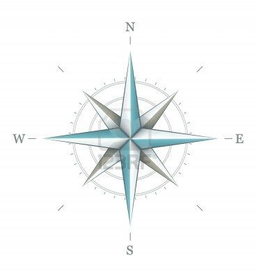 Antique wind rose symbol for navigation isolated on white background. Transparent objects used for shadows and lights drawing. Stock Photo -...