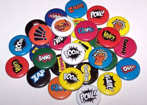 "10 Comic Book Sound Effects Words 1 Inch Pinback Buttons 1"" Pins or Magnets Superhero Super Hero"