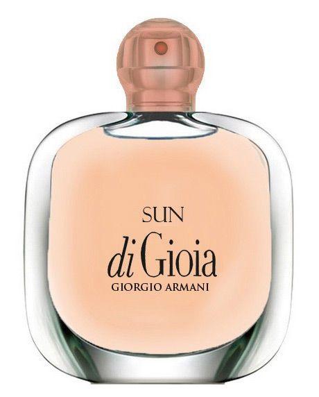 Sun di Gioia by Giorgio Armani Top notes of bergamot and freesia; Middle notes of frangipani, ylang-ylang, jasmine sambac; Base notes of vanilla, iris, benzoin, ambroxan