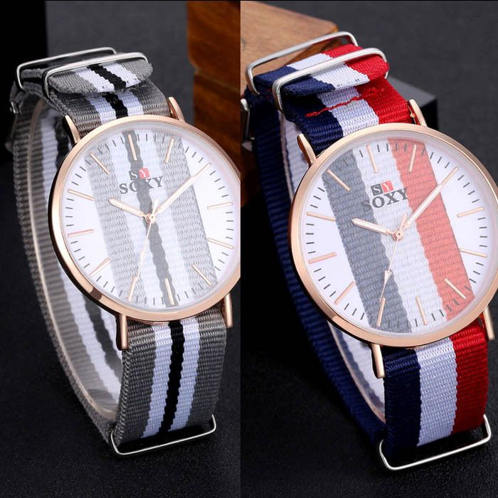 Cloth Strap Women Men Fabric Nylon Canvas Band Military Dial Quartz Wrist Watch