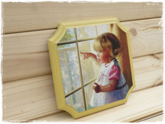 Wooden Wall Panels Decorative Panel Decoupage Picture on the wall panels small girl yellow Decoupage Wall Art