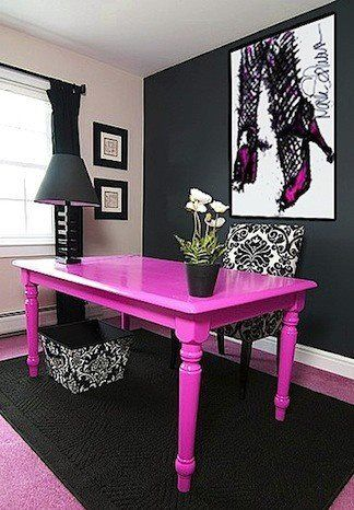 Love the pink table as a desk  - painted table in someday craft room!