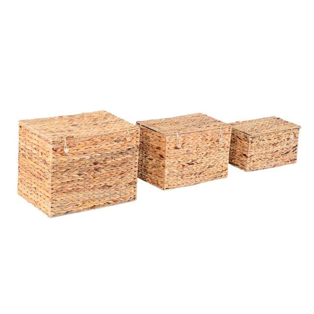 lot de 3 coffres de rangement 3 dimensions jonc de mer tress brun homcom homcom - Jonc De Mer Chambre Avis