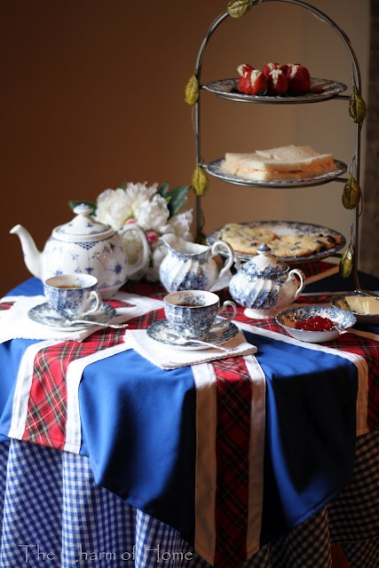 Decor To Adore: High Tea Tablescape Winners!  I like the plaid used for the Scottish cross in the Union Jack tablecloth