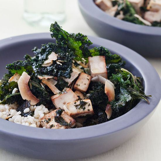 Crispy Kale-and-Tofu Salad with Coconut Recipe // More Fantastic Recipes for Kale: http://www.foodandwine.com/slideshows/kale #foodandwine