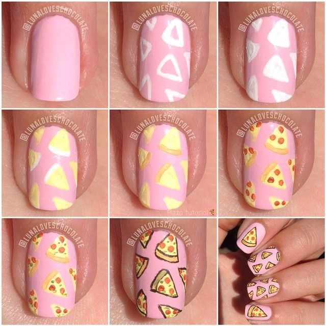 How to: Pizza nails Art Tutorial