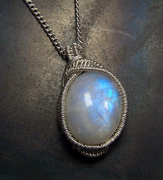 Rainbow Moonstone Necklace Pendant  Sterling Silver by mandalarain, $50.00