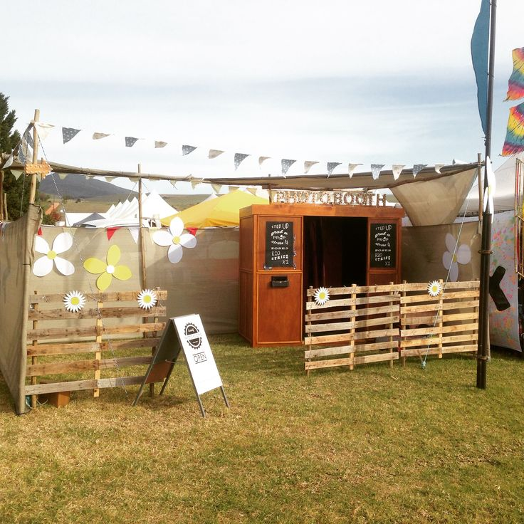 Photo Booth looking pretty in the Rocking the Daisies 2015 sunshine at Darling, South Africa #photobooth #photo #booth #vintage #festival #props #wooden photo booth #vintage photo booth #outdoor photo booth