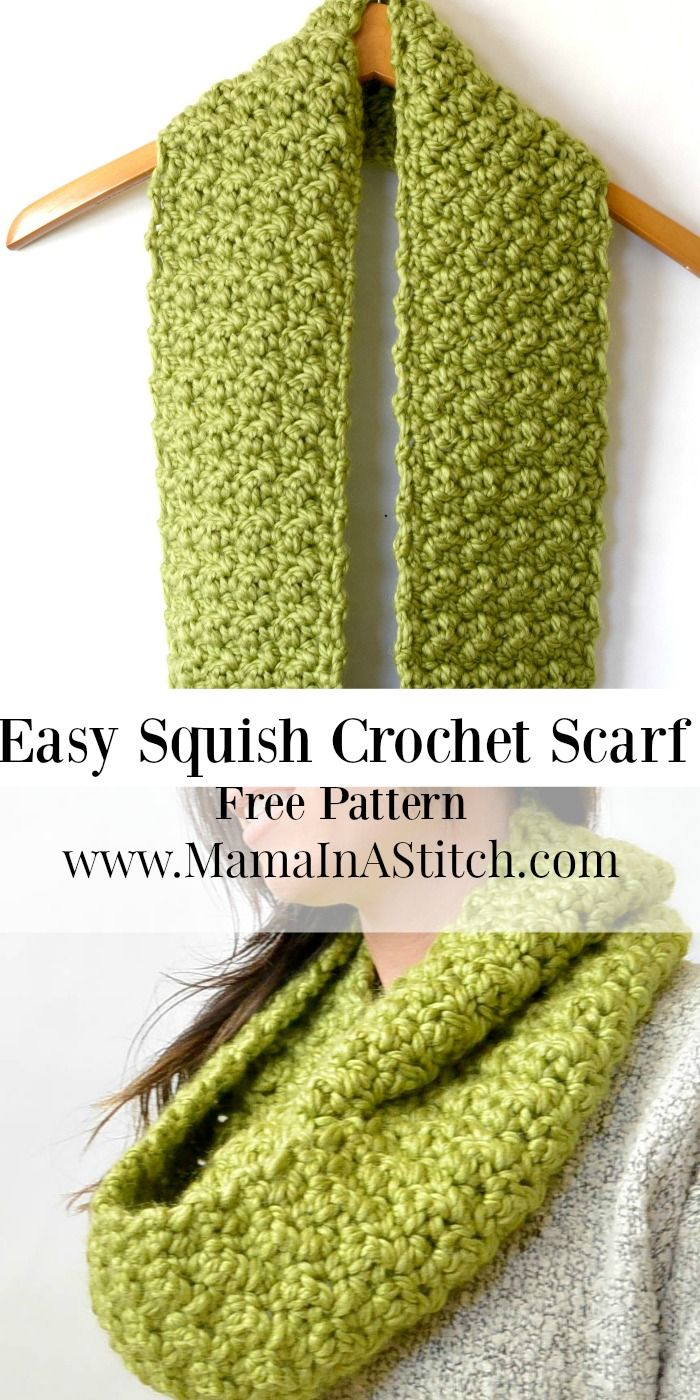 Chunky, Squishy Crochet Infinity Scarf Pattern via @MamaInAStitch Super easy stitch pattern and uses just two skeins of yarn. Chunky scarf for fall or winter! #tutorial #diy #crafts