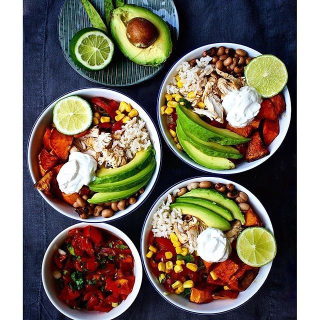 Mexican burrito rice bowls with shredded chicken, avocado dressing, sweet potato
