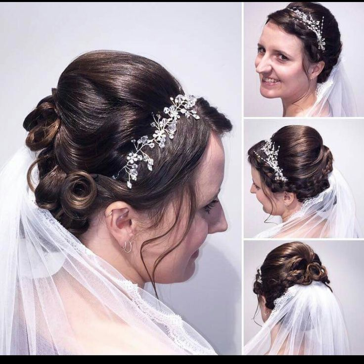 Wedding hair: opsat hår, slør, smykke