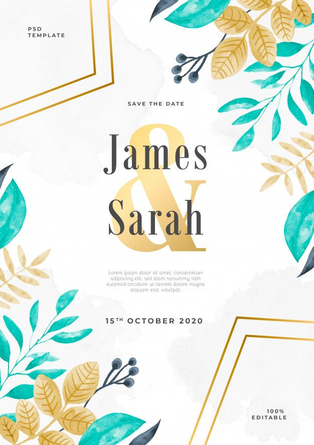 Download Florar Watercolor Wedding Invitation Psd Template For