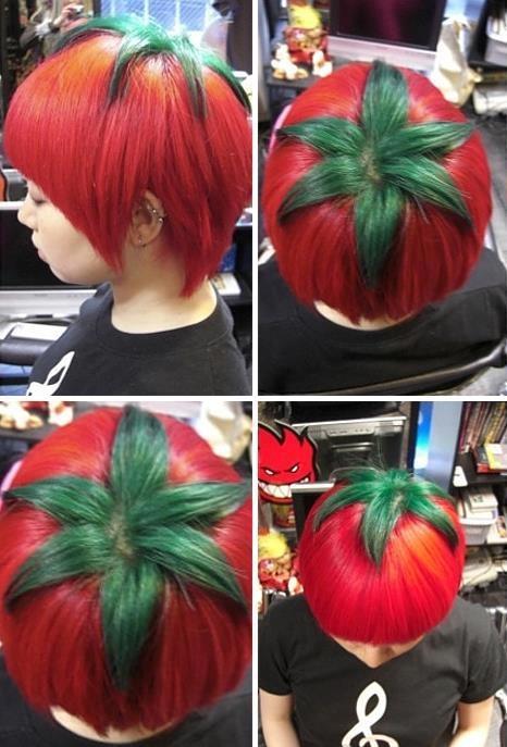 Een tomaat als haarstyle. Leuk toch!?