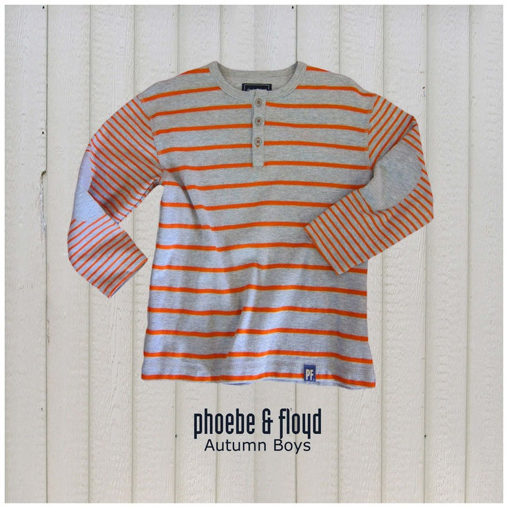 Orange & Grey Melange Yarn Dyed Rib Grandpa T-Shirt