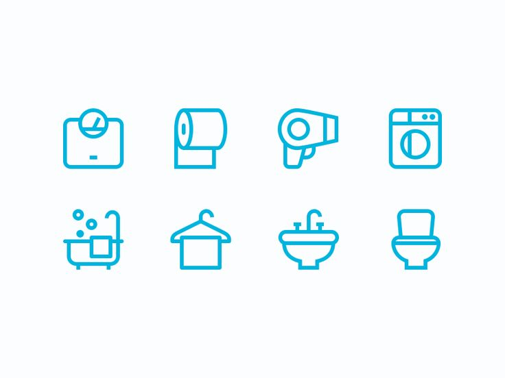 Bathroom Icon Set: Scale, Toilet Paper, Hair Dryer, Washer, Bathtub, Towel, Sink and Toilet Icon Designs