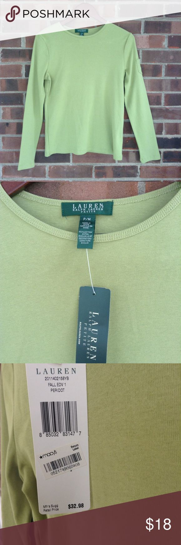 NWT Lauren Ralph Lauren green long sleeve top PM New with tag Lauren Ralph Lauren long sleeve top, light green color, small pocket on the sleeve with the brand initials. Sz petite M. Smoke and pet free home, fast shipping. Lauren Ralph Lauren Tops Tees - Long Sleeve