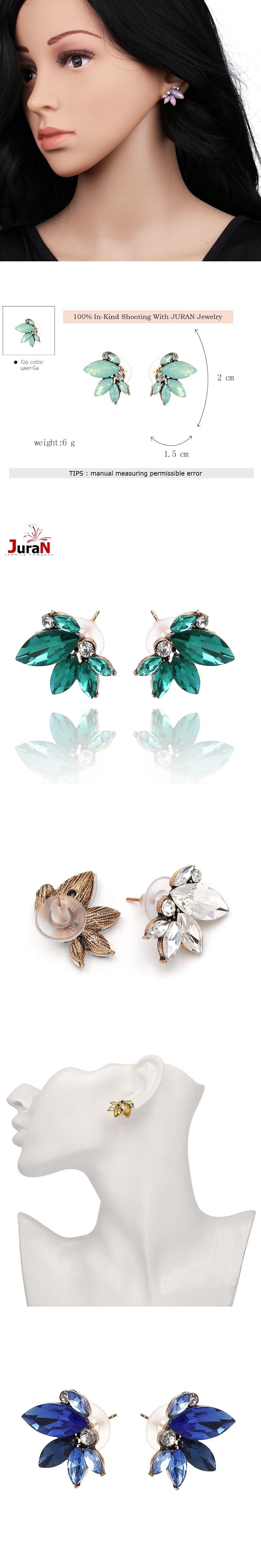 JURAN Cute Romantic Crystal Earring Statement 2017 Pink Gem Beads Sweet Stud Earrings For Women Party Wedding Wholesale F2409