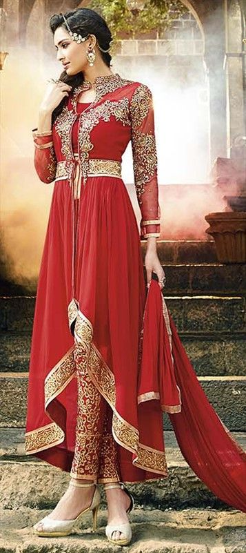 434066, Party Wear Salwar Kameez, Faux Georgette, Stone, Lace, Resham, Red and Maroon Color Family #Embroidery #DesignerWears #Occasion #IndianDresses #Partywears #Indian #Women #Bridalwear #Fashion #Fashionista #OnlineShopping #suit #salwarsuit