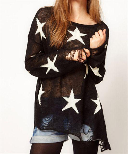ロングスリーブ素敵な女性スタープルオーバーファッション緩い破れセーター穴秋ヒップスターかわいい薄いセーター生き抜くトップス
