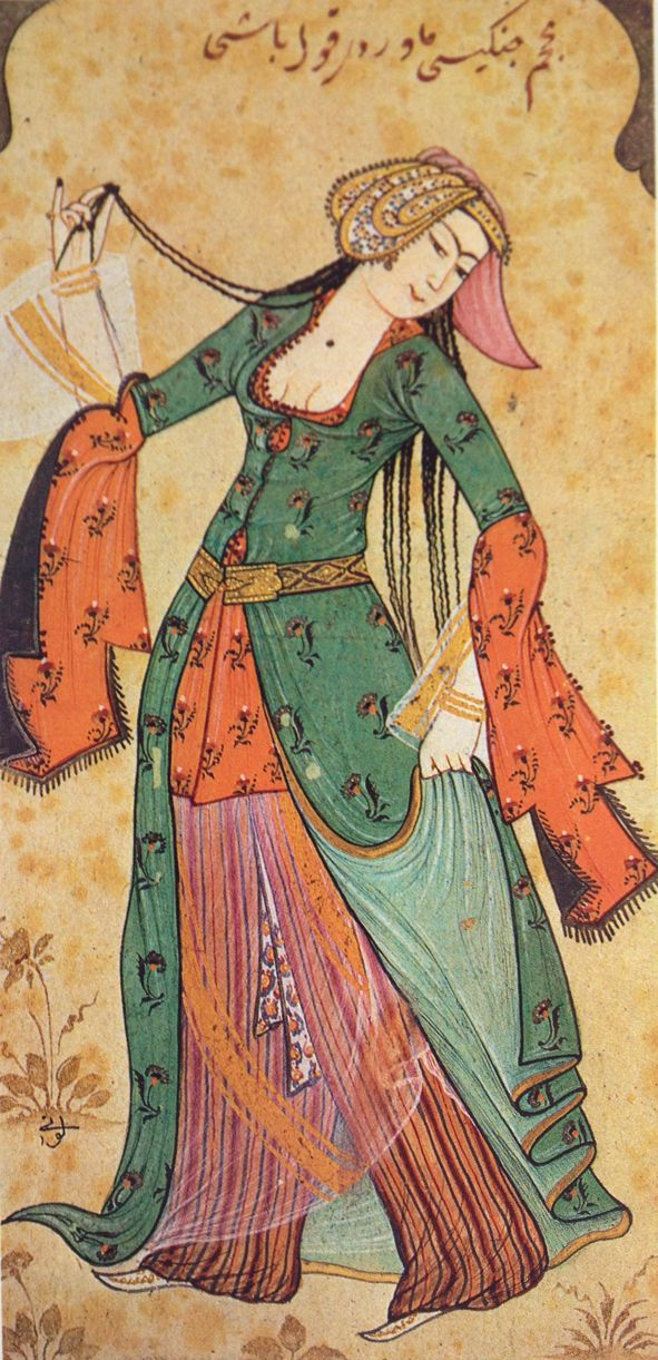Persian dancing woman at the Ottoman court.  Ottoman miniature by Levni; early 18th century.