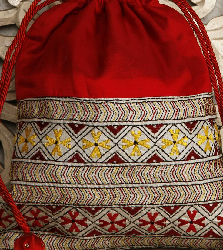 Red Silk Potli Bag With Kantha Embroidery